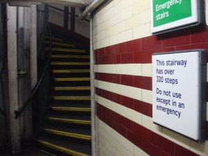 The entrance to the stairs at Hampstead tube station.