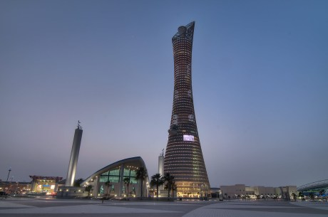 The Torch in Doha, venue for the World Championships