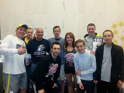 """Some of the Tower Masters team from the race at One Penn Plaza. Workman (front left) with """"The Beast from the East""""   behind him (centre left)."""