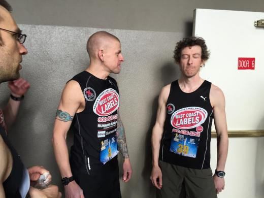 Sproule Love works hard to avoid Workman's famed 'Fatigue Inducing Stare' at the start line of the 2015 Scale the Strat.