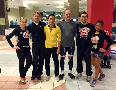 The elite climbers who took on the Calgary Tower Power Hour (L-R Veronica Stocker, Görge Heimann, Napoleon Woo,  Zivadin Zivkovic, Alex Workman, Madeleine Fontillas Ronk)