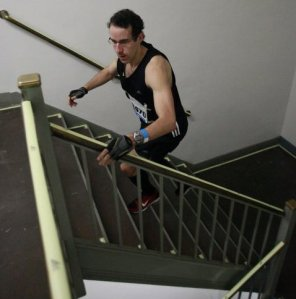 """The Sword of the Stairwell"" cuts through another flight on his way to victory"