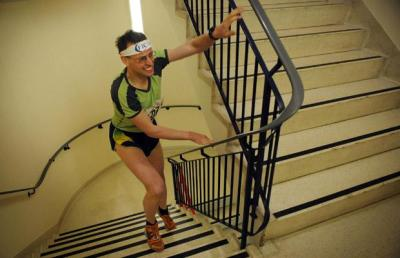 """""""The Wanderer"""" powering up the stairs at London's Vertical Rush"""