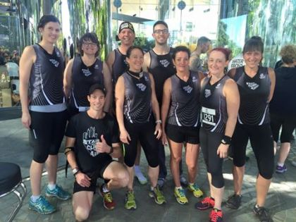 The Stair Climbing Australia crew, with Chris Price (back right) and Adam Ryan (kneeling front)
