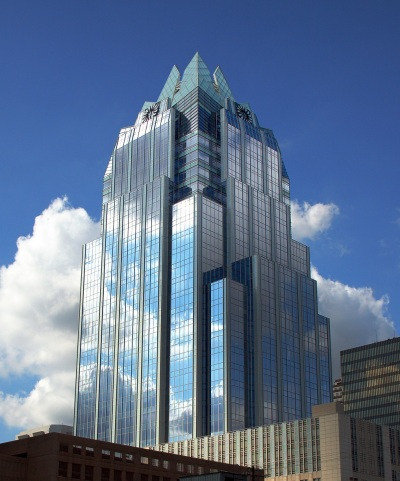 The unique looking Frost Bank Tower in Austin