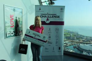 Jasmina Klancnik receives her prize at the top of Spinnaker Tower