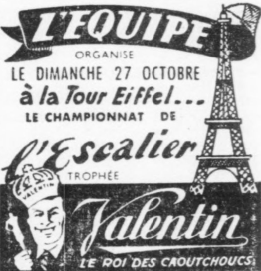 1946 Eiffel Tower stair race advert